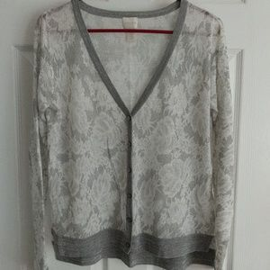 Chico's silver and white lace print cardigan, XS/0